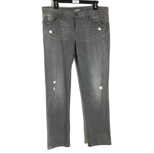 Ann Taylor Loft 8 Boyfriend Jean Gray Distressed